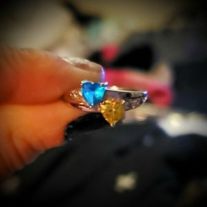 Jewelry - Blue Topaz & Yellow Citrine Gold Plated Ring